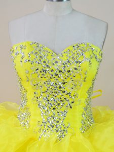 Luxurious Puffy Bright Yellow Long Quinceanera Dress with Crystals and Ruffles