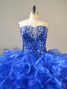 Puffy Royal Blue Ruffled Organza Sweetheart Quinceanera Dress with Sequins