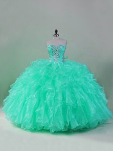 Elegant Puffy Mint Sweetheart Ruffled Quinceanera Dress Lace Back Up