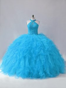 Blue Halter and Cutout Neckline Ruffles Lace Up Back Quinceanera Gown