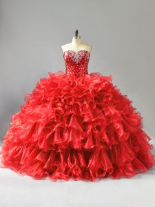 Big Puffy Red Sleeveless Ruffles and Sequins Quinceanera Dress
