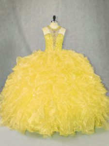 Simple Beautiful Yellow Color Halter Ruffles Quinceanera Dress Organza Sleeveless