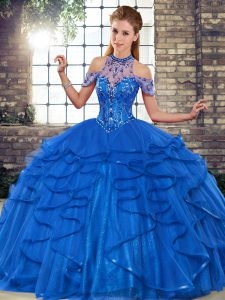 Pretty Beaded Halter Top Off the Shoulder Quinceanera Dress with Royal Blue Ruffles