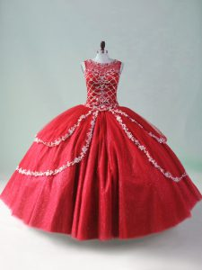 Great Red Scoop Neckline Beading and Appliques 15 Quinceanera Dress Sleeveless Zipper