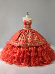 Pretty Red Satin and Organza Ruffled Quinceanera Dress with Gold Embroidery