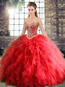 Unique Pretty Coral Red Sweetheart Ruffles XV Quinceanera Dress No Train