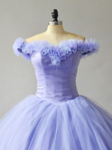 Beautiful Lavender Quinceanera Dress Handmade Flowers Off The Shoulder with Court Train