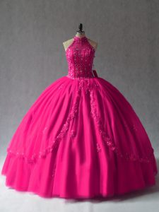 Beautiful Halter Top Non Ruffles Quinceanera Dress Fuchsia Tulle