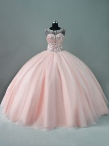 Beautiful Blush Pink Illusion Tulle Neck Zipper Back Quinceanera Dress