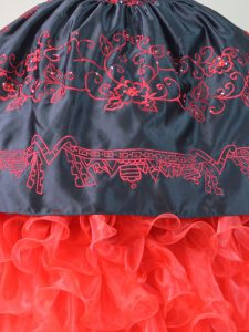 Charro Embroidery and Ruffles Quinceanera Dress Red And Black with Short Train