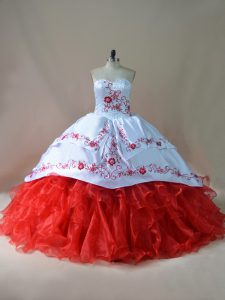 Cowgirl Themed White and Red Sleeveless Embroidery Lace Up Quinceanera Dress