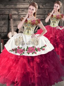 Mexican Style Red And White Quinceanera Dress for 15th Birthday with Flower