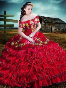 Red Mexican Off Shoulder Yellow Floral Embroidery Quinceanera Dress with Ruffles