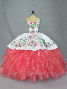 Mexican Coral Pink and White Floral Embroideried Quinceanera Dress