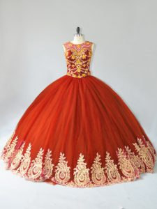 Custom Made Rust Red Quinceanera Dress with Gold Appliques