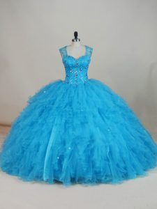 Custom Turquoise Sheer Back Rhinestone Beaded Quinceanera Dress Tulle Skirt