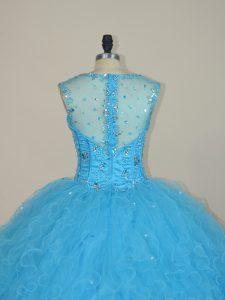 Custom Turquoise Sheer Back Rhinestone Beaded Quinceanera Dress Tulle Skirt