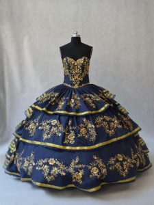 Inexpensive Floor Length Navy Blue Quinceanera Dress Organza Sleeveless Embroidery and Ruffled Layers