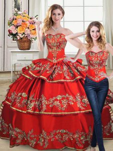 Free Shipping 2 Pieces Red Satin Fabric Quinceanera Dress with Gold Embroidery