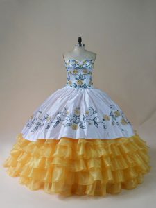 Customize White and Yellow Embroidery and Ruffled Layers Quinceanera Dress
